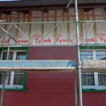 Fassade vorbereitet mit Lattenrost